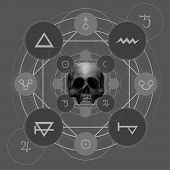 stock photo of pentacle  - Fantasy alchemy pentacle with signs and skull illustration - JPG