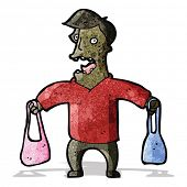 cartoon man carrying handbags