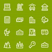 Travel web icons set