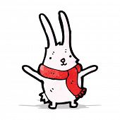 cartoon rabbit in scarf