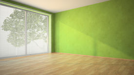 picture of louvers  -  Empty room with green walls and louvers - JPG