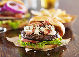 image of burger  - gourmet burgers on wooden table with bleu cheese and bacon - JPG