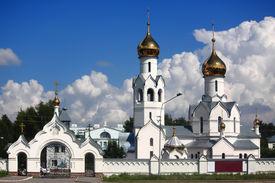 stock photo of novosibirsk  - the white orthodox monastery near Novosibirsk Russia - JPG