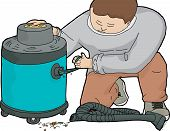 image of clog  - Illustration of janitor cleaning out clogged large vacuum - JPG
