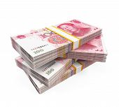 stock photo of yuan  - Stacks of Chinese Yuan Banknotes isolated on white background - JPG