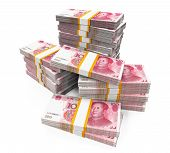 picture of yuan  - Stacks of Chinese Yuan Banknotes isolated on white background - JPG