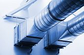 foto of air conditioning  - ventilation pipes of an new air condition for a cool home - JPG