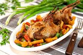 foto of quail  - Roasted quails with vegetable and mushrooms garnish - JPG