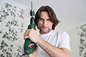 stock photo of hand drill  - middle - JPG