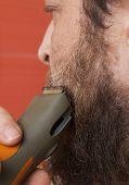 pic of beard  - Bearded man trim his beard with electric shaver - JPG