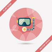 pic of rubber mask  - Mask And Snorkel Flat Icon With Long Shadow - JPG