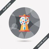 foto of gumball machine  - Gum Ball Machine Flat Icon With Long Shadow - JPG