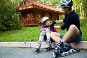image of daughter  - portrait of a sports dad and daughter in a helmet - JPG