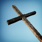 stock photo of cross hill  - Closeup of the cross up on the hill in Ventura California - JPG