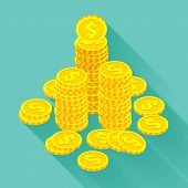 foto of golden coin  - Isometric golden coins on the teal background - JPG