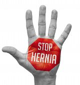 stock photo of hernia  - Stop Hernia Sign Painted  - JPG