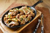 stock photo of liver fry  - Liver baked with mushrooms - JPG
