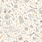 image of birthday  - Hand drawn seamless pattern with Birthday elements - JPG