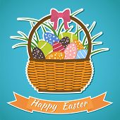 picture of gift basket  - Happy Easter card - JPG