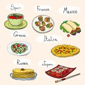 stock photo of world-famous  - Popular world famous food international restaurant or cafe cuisine dishes cooked - JPG