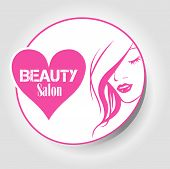 image of beauty parlour  - icon Beauty salon with woman face and heart - JPG
