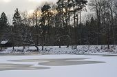 picture of bohemia  - Holna pond in winter South Bohemia Czech Republic - JPG