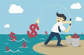 picture of money  - Businessman fishing dollar money Make Money from idea vector illustration - JPG