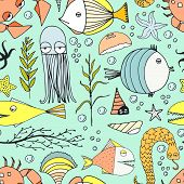 stock photo of creatures  - Cute hand drawn seamless pattern with water creatures made in vector - JPG