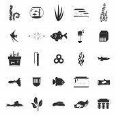 pic of freshwater fish  - Set of modern flat aquarium icons  - JPG