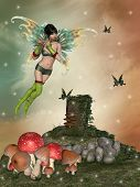 foto of fairy-mushroom  - fairy with a flute in the garden with mushrooms - JPG