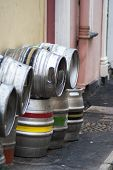 image of keg  - Beer kegs on a side street outside a pub - JPG