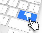stock photo of dislike  - Dislike enter key with hand cursor - JPG