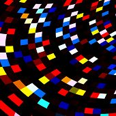 image of color geometric shape  - Colorful squares mosaic on black background - JPG