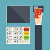 stock photo of terminator  - Vector illustration of ATM terminal and hand with credit card for your design - JPG