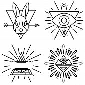 foto of illuminati  - Vector set of linear emblems and badges  - JPG