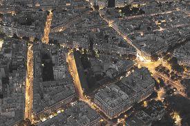 stock photo of nightfall  - Nightfall in the city of Paris Ile - JPG