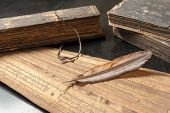 picture of vedic  - Ancient Treatise with bird feather - JPG