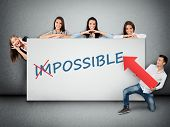 picture of impossible  - Impossible word writing on white banner - JPG