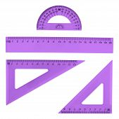 picture of protractor  - Set of multiple violet colored plastic rulers and the protractor - JPG