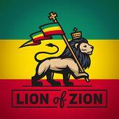 image of rastafari  - Judah lion with a rastafari flag - JPG