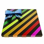 image of gift wrapped  - Wrapped black gift box with a rainbow colored metallic bow and ribbon isolated over white background - JPG