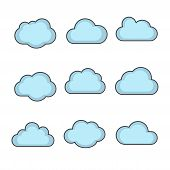 image of clouds  - vector cloud shapes set cloud icons for cloud computing for web and app - JPG