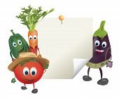 foto of animated cartoon  - Illustration of Cartoon Vegetables with Sticky Blank Note - JPG