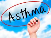 pic of asthma inhaler  - Man Hand writing Asthma with black marker on visual screen - JPG