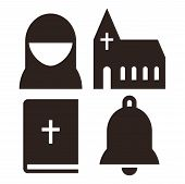 picture of church  - Nun church bible and bell icons - JPG