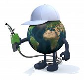 image of fuel economy  - planet earth with arms legs and fuel pump on hand 3d illustration - JPG