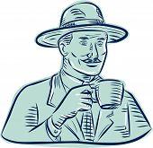 foto of fedora  - Etching engraving handmade style illustration of a man wearing vintage fedora hat holding coffee mug drinking coffee set on isolated white background - JPG