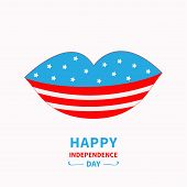 picture of  lips  - Lips with star and strip White background Happy independence day United states of America - JPG