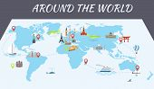 image of world-famous  - Illustration of vector flat design postcard with famous world landmarks icons on the map - JPG