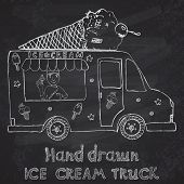stock photo of hand truck  - Hand drawn sketch Ice Cream Truck with yang man seller and Ice Cream cone on top on chalkboard - JPG